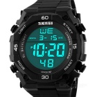 SKMEI Men's 50m Waterproof PU Band Outdoor Sports Electronic Watch - Black + White (1 x CR2025)
