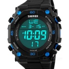 SKMEI 50m Waterproof PU Band Outdoor Sports Electronic Watch - Black + Blue (1 x CR2025)