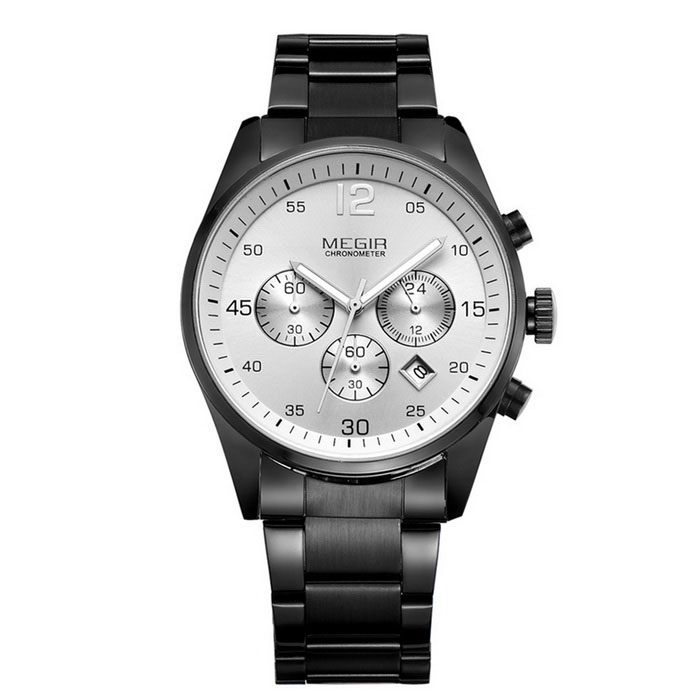 MEGIR 2010 Men's Waterproof Analog Quartz Watch - Black + White