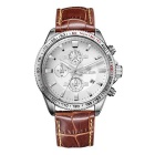 MEGIR Men's Genuine Leather Strap Analog Quartz Watch w/ Calendar - White + Coffee (1 x SR626-06)
