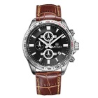 MEGIR Men's Genuine Leather Strap Analog Quartz Watch w/ Calendar - Black + Coffee (1 x SR626-06)
