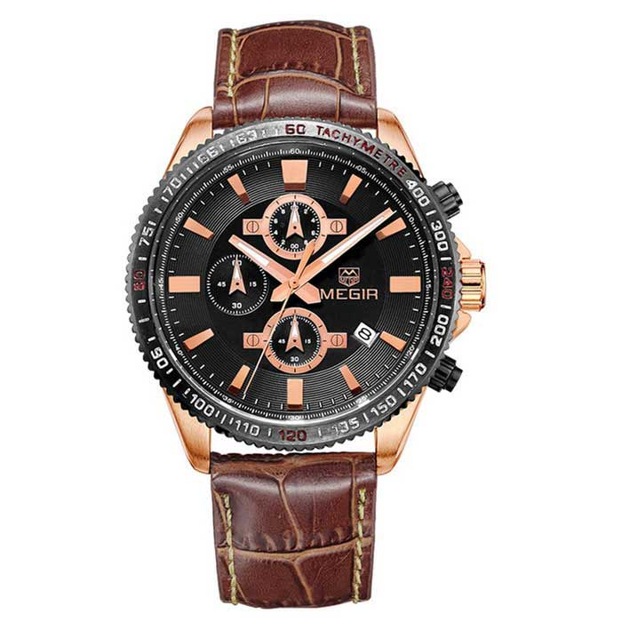 MEGIR Men's Fashion Genuine Leather Strap Analog Quartz Watch - Coffee