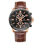 MEGIR Men's Genuine Leather Strap Analog Quartz Watch w/ Calendar - Coffee + Rose Gold (1xSR626-06)