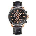 MEGIR Men's Genuine Leather Strap Analog Quartz Watch w/ Calendar - Black + Rose Gold (1 x SR626-06)