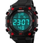 SKMEI 50m Waterproof PU Band Outdoor Sports Electronic Watch - Black + Red  (1 x CR2025)