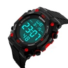 SKMEI 50m Waterproof PU Band Electronic Watch - Black + Red