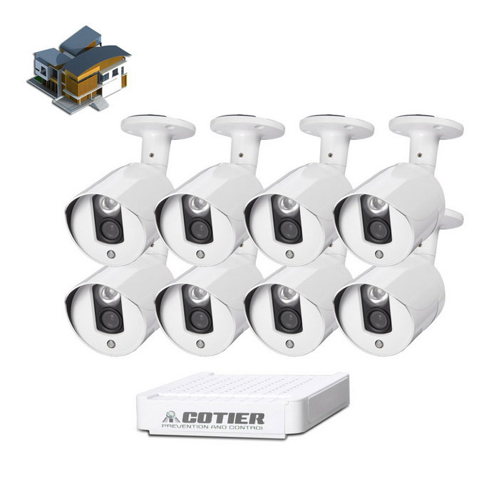 COTIER 8-CH Mini NVR Kits With 8x1.0MP Outdoor IR Camera - White