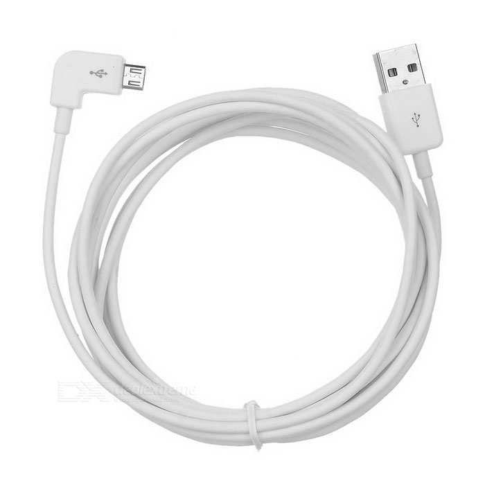 USB 2.0 Male to Angled Micro USB Male Charging Data Cable - White (3m)