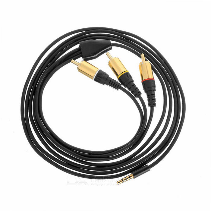 4-Conductor 3.5mm to 3 RCA M-M Splitter Cable - Black + Golden (2m)