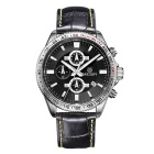 MEGIR Men's Genuine Leather Strap Analog Quartz Watch w/ Calendar - Black + Silver (1 x SR626-06)