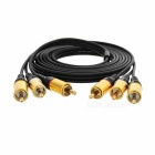 3 RCA Male to 3 RCA Male Audio Cable - Black + Golden (200cm)
