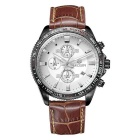 MEGIR Men's Genuine Leather Strap Analog Quartz Watch w/ 3 Sub-Dials & Calendar (1 x SR626-06)