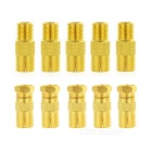 F Type Adapters Connectors - Golden (10pcs)