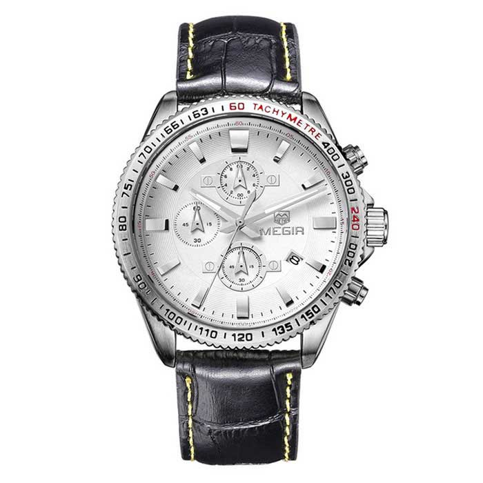 MEGIR Men's Genuine Leather Quartz Watch w/ Calendar - Black + Silver