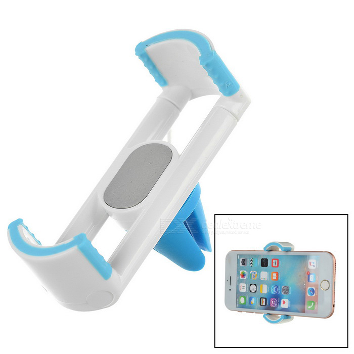 "360"" Rotating Car Air Outlet Mount Phone Holder - White + Light Blue"