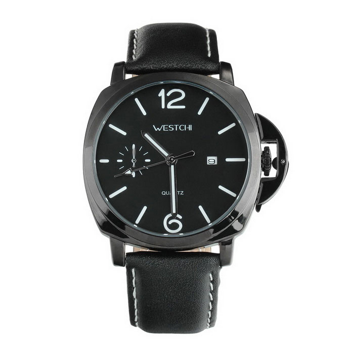 WESTCHI W9101GD-4 Men's Leather Band Waterproof Quartz Watch - Black