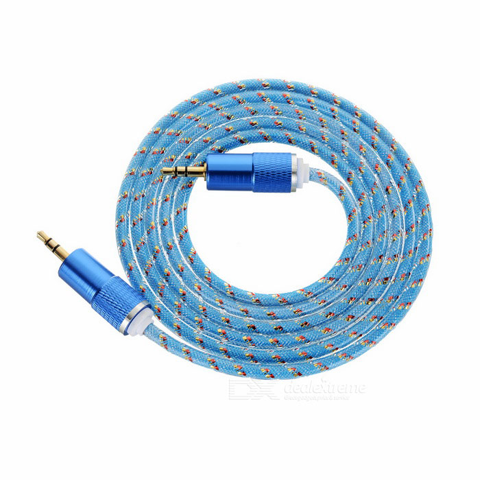 3.5mm Male to Male Nylon Braided Audio Extension Cable - Blue (142cm)