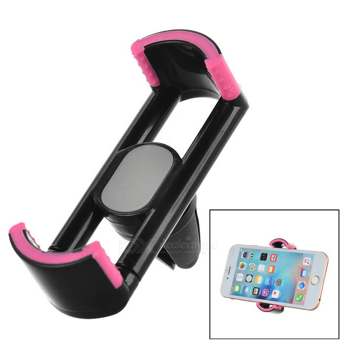 "360"" Rotating Car Air Outlet Mount Phone Holder Stand - Black + Pink"