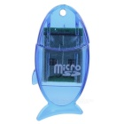 Fish Shape USB 2.0 TF Card Reader w/ USB Flash Drive Function - Blue