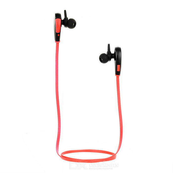 Q7 Sports Bluetooth V4.0 Flat In-Ear Headset w/ Mic - Red + Black