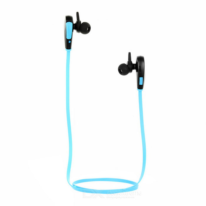 Q7 Sports Bluetooth V4.0 Flat In-Ear Headset w/ Mic - Black + Blue