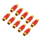 RCA Female to Female AV Connector - Golden + Red (10 PCS)