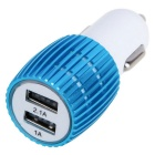 3.1A Dual-Port USB Universal Car Quick Charger Power Adapter - Blue + White (12~24V)