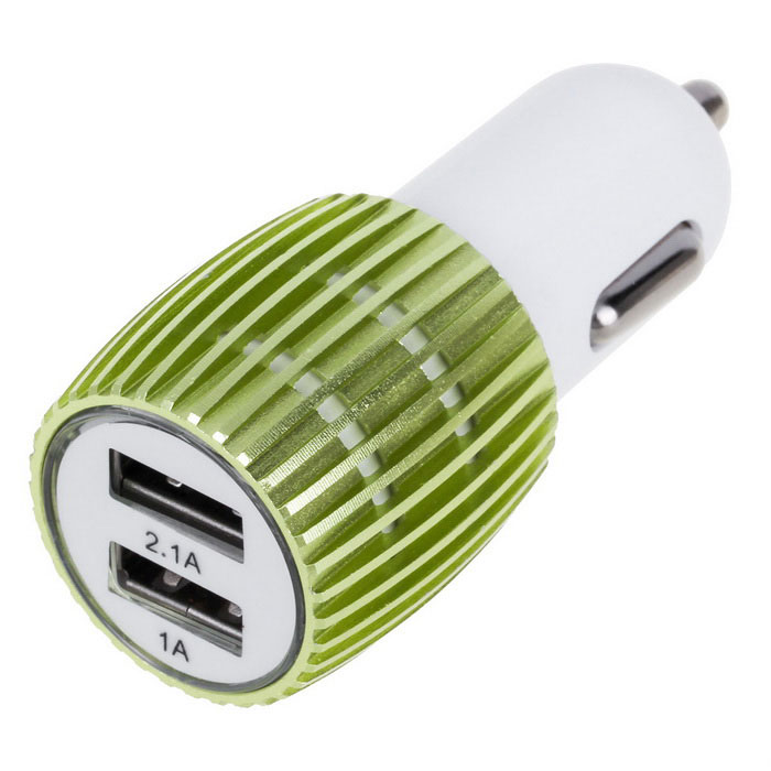 3.1A Dual-Port USB Car Quick Charger Power Adapter - Green + White