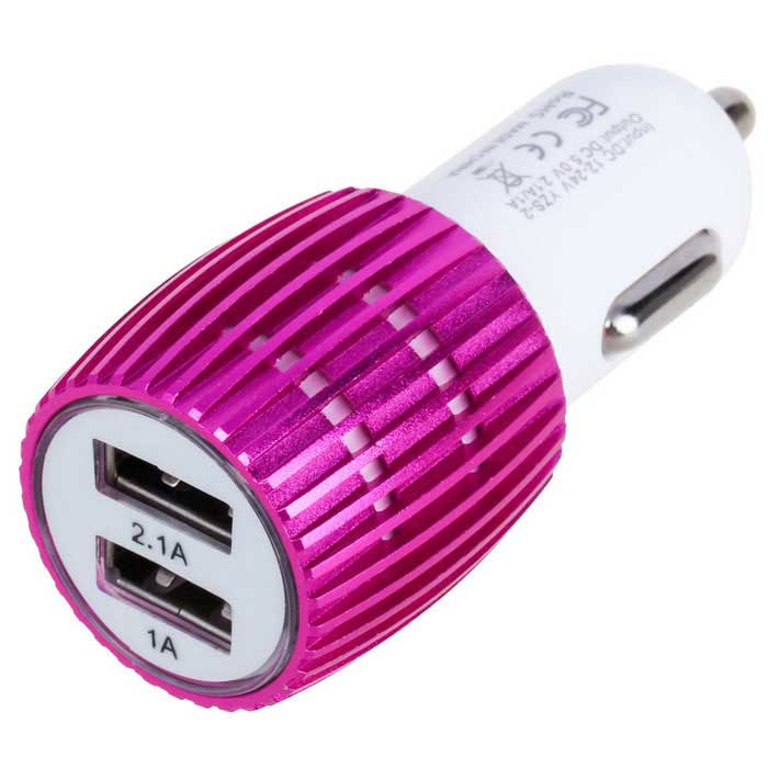 3.1A Dual-Port USB Car Quick Charger Power Adapter - Deep Pink + White