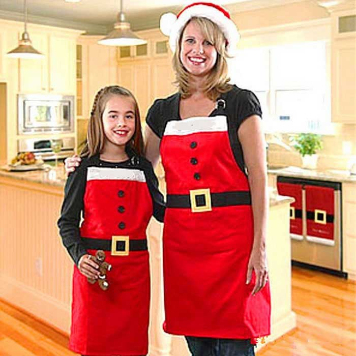 Christmas Style Houseware Apron - Red + White (Free Size)Christmas Gadgets<br>Form  ColorRed + WhiteMaterialClothQuantity1 DX.PCM.Model.AttributeModel.UnitSuitable holidaysChristmasPacking List1 x Apron<br>