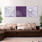 Home Living Room Decoration Frame-Free Flowers Paintings Canvas Wall Art Pictures - Purple (3pcs)