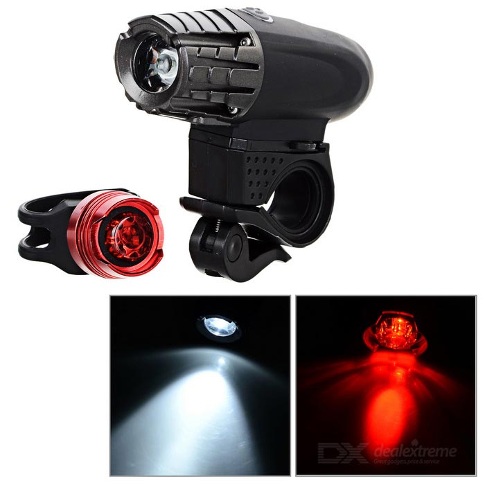 4-Mode Bike Headlamp White Light + 3-Mode Red Taillight - Black + Red