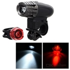 4-Mode Mountain Bike Cycling Headlamp White Light + 3-Mode Taillight Red Light - Black + Red