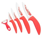 "3"" / 4"" / 5"" / 6"" + Peeler Kitchen Ceramic Knife Set -  Red + White (5 PCS)"