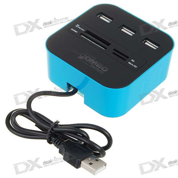 3-Port USB 2.0/1.1 Hub + MS/MS PRO DUO/SD/MMC/M2/Micro SD Card Reader