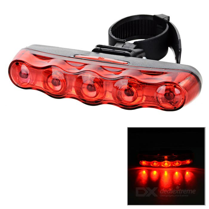 Lengthened 5-LED 7-Mode Laser Taillight Red Light - Black + Red