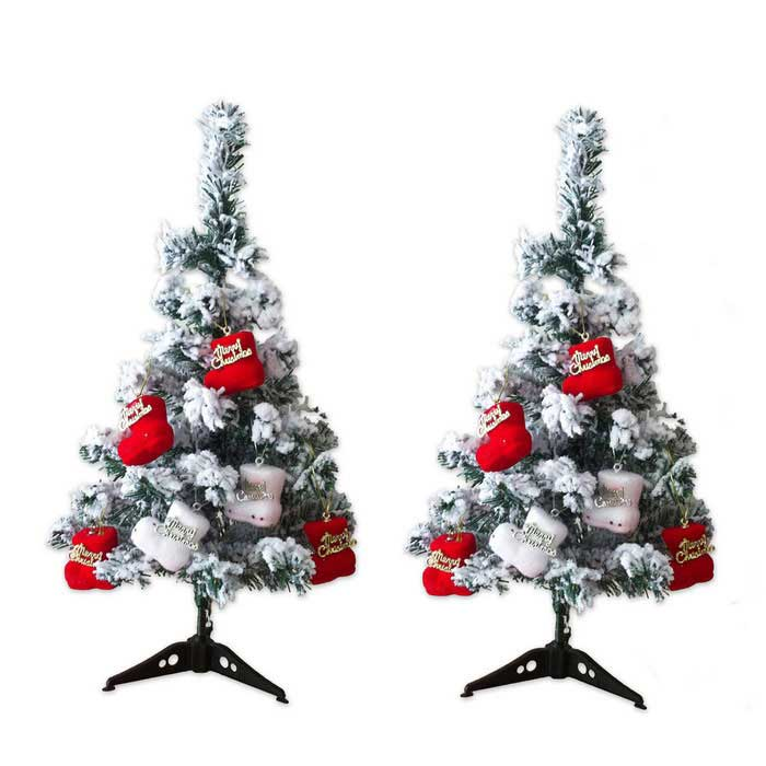 60cm Flocking Snowflake Christmas Trees + Tripods + Boots Set - White