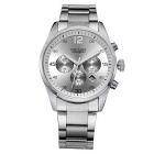 MEGIR Men's Fashion Steel Wristband Analog Quartz Watch w/ Calendar - Silver (1 x SR626-06)