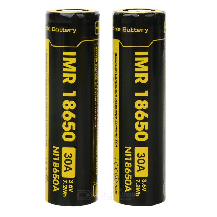 18650 2000mAh 30A 3.6V 7.2Wh IMR Battery - Black + Yellow (2 PCS)