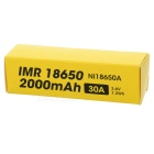 18650 2000mAh 30A 3.6V 7.2Wh IMR Battery - Black + Yellow