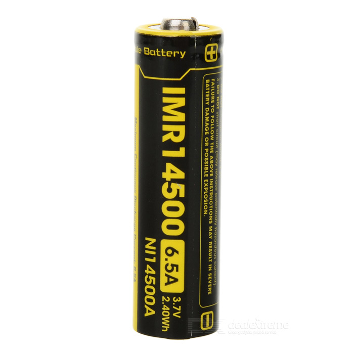 14500 650mAh 6.5A 3.7V 2.40Wh IMR Battery - Black + Yellow