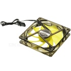 MAIKOU 12cm Computer Cooling Fan w/ Yellow Light LED - Black + Yellow