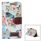 Flowers Pattern Protective PU Case for Sony Z5 - White + Multicolored
