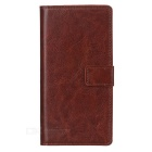 Protective Flip-Open PU Leather Full Body Case w/ Stand & Card Slots for Sony Xperia Z5 - Brown