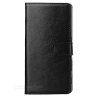 Protective Flip-Open PU Leather Full Body Case w/ Stand & Card Slots for Sony Xperia Z5 - Black