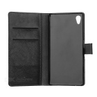 Flip-Open PU Full Case w/ Stand, Card Slots for Sony Xperia Z5 - Black