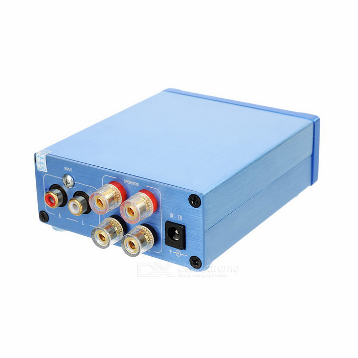 50Wx2 Aluminum Alloy HiFi 2.0-CH Audio Music Digital Amplifier - BlueAmplifiers<br>Form ColorBlueMaterialAluminum alloyQuantity1 DX.PCM.Model.AttributeModel.UnitShade Of ColorBlueTotal Power2 x 50 DX.PCM.Model.AttributeModel.UnitSNR&gt;=80dBSensitivity750mVTHDFrequency Response20Hz~500HzImpedance8 / 6 / 4 / 3 DX.PCM.Model.AttributeModel.UnitChannels2.0InterfaceOthers,INPUT, OUTPUTRadio TunerNoPower Supply110~240V, DC 24V / 0.5AOther FeaturesSupports CD / DVD / MP3 / PC and other audio devices; Supports IPHONE / IPAD / MID / Xiaomi / Samsung smart phones.Packing List1 x HiFi amplifier<br>