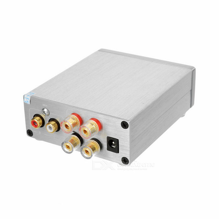 50Wx2 Aluminum Alloy HiFi 2.0-CH Audio Digital Amplifier - Light GreyAmplifiers<br>Form ColorLight GreyMaterialAluminum alloyQuantity1 DX.PCM.Model.AttributeModel.UnitShade Of ColorGrayTotal Power2 x 50 DX.PCM.Model.AttributeModel.UnitSNR&gt;=80dBSensitivity750mVTHDFrequency Response20Hz~500HzImpedance8 / 6 / 4 / 3 DX.PCM.Model.AttributeModel.UnitInterfaceOthers,INPUT, OUTPUTPower Supply8~25VOther FeaturesSupports CD / DVD / MP3 / PC and other audio devices; Supports IPHONE / IPAD / MID / Xiaomi / Samsung smart phones.Packing List1 x HiFi amplifier<br>