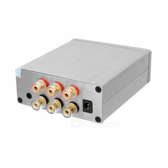 Hi-Fi High Power 2.1 Digital Amplifier w/ High Pitch AdjustmentAmplifiers<br>Form ColorGreyMaterialAluminium alloyQuantity1 DX.PCM.Model.AttributeModel.UnitShade Of ColorGrayTotal Power50W + 50W + 100W, 50W + 50W + 130 DX.PCM.Model.AttributeModel.UnitSNR80dBSensitivity750mVTHD0.1%(1kHz)Frequency Response30Hz-20KHz(+/-0.04dB)Impedance8/6/4/3 DX.PCM.Model.AttributeModel.UnitChannels2.1InterfaceOthers,RCARadio TunerNoPower Supply110~240VOther FeaturesPotentiometer function: L1 is stereo volume adjustable; Middle is low subwoofer volume adjustable; Backward is master volume adjustable.<br>1. L/R channel full band output, in rated voltage 24V status can drive 3~16ohms speaker, very wide range<br>2. Super bass sound channel in rated voltage 24V status can drive 2~16ohms ultra low speaker<br>3. Super bass gain individual adjust above advantages, matching all speakers, through adjustment to reach excellent matching statusPacking List1 x Digital amplifier<br>