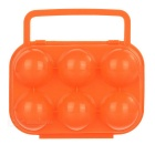 Portable Folding Plastic 6 Eggs Carrier Container Holder Storage Box Case for Picnic - Orange